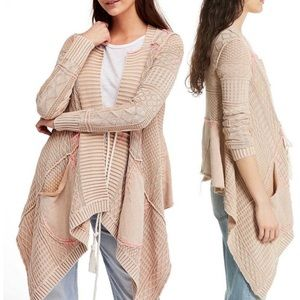 Free People Washed Out Tan & Pink Cardigan Sweater